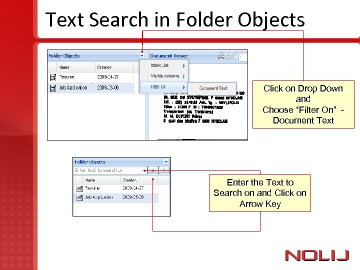 """Text Search in Folder Objects Click on Drop Down and Choose """"Filter On"""" Document"""
