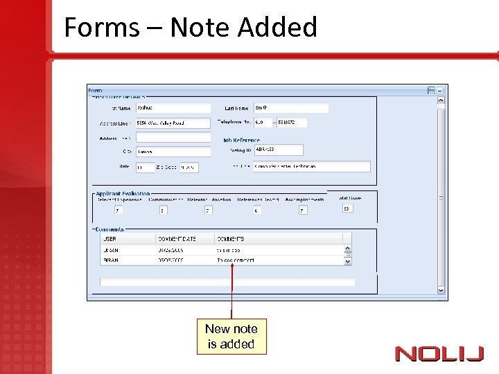 Forms – Note Added New note is added