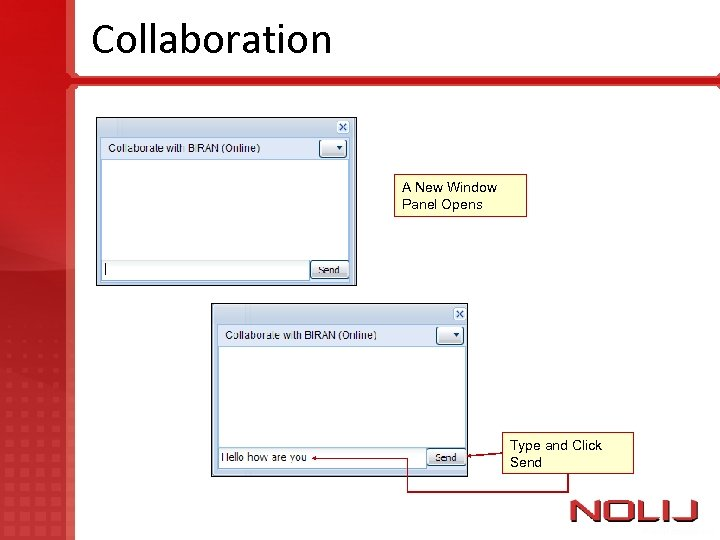 Collaboration A New Window Panel Opens Type and Click Send