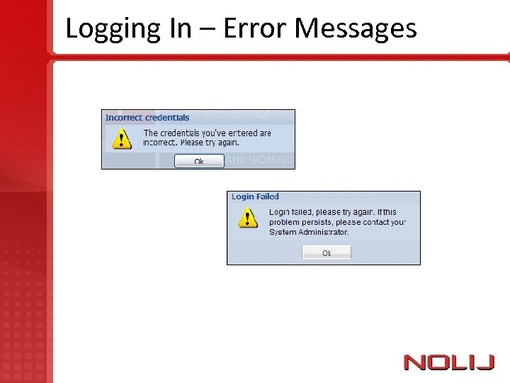 Logging In – Error Messages