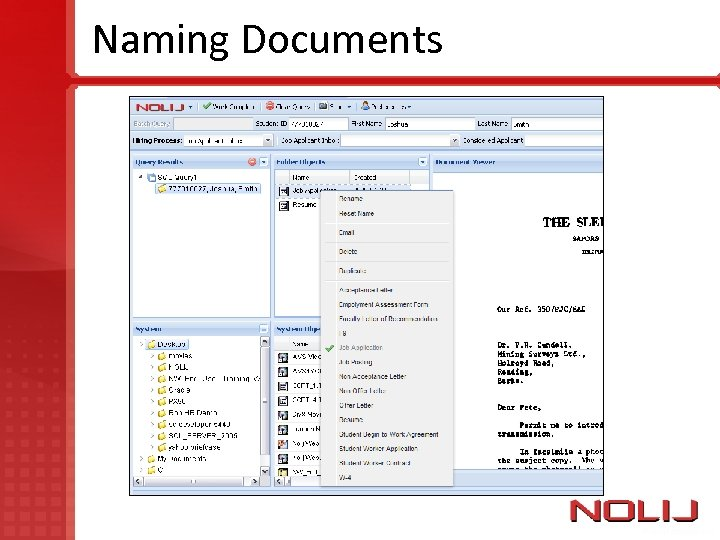 Naming Documents Need Picture of Document List
