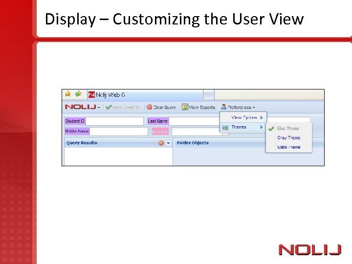 Display – Customizing the User View
