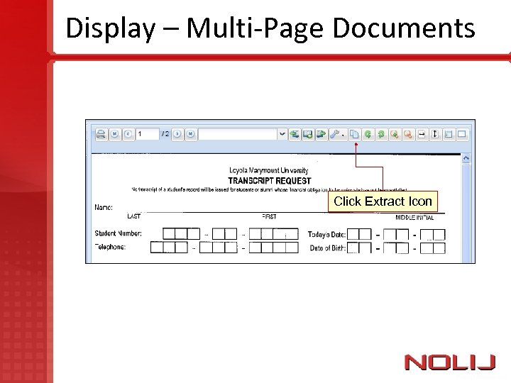Display – Multi-Page Documents Click Extract Icon