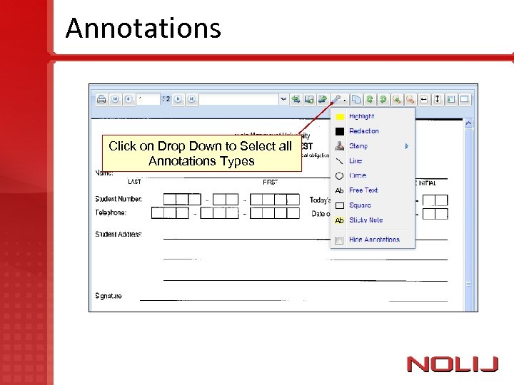 Annotations Click on Drop Down to Select all Annotations Types