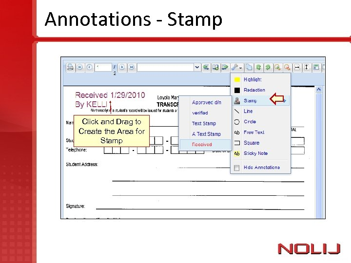 Annotations - Stamp Click and Drag to Create the Area for Stamp