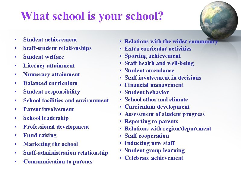 What school is your school? • • • • Student achievement Staff-student relationships Student