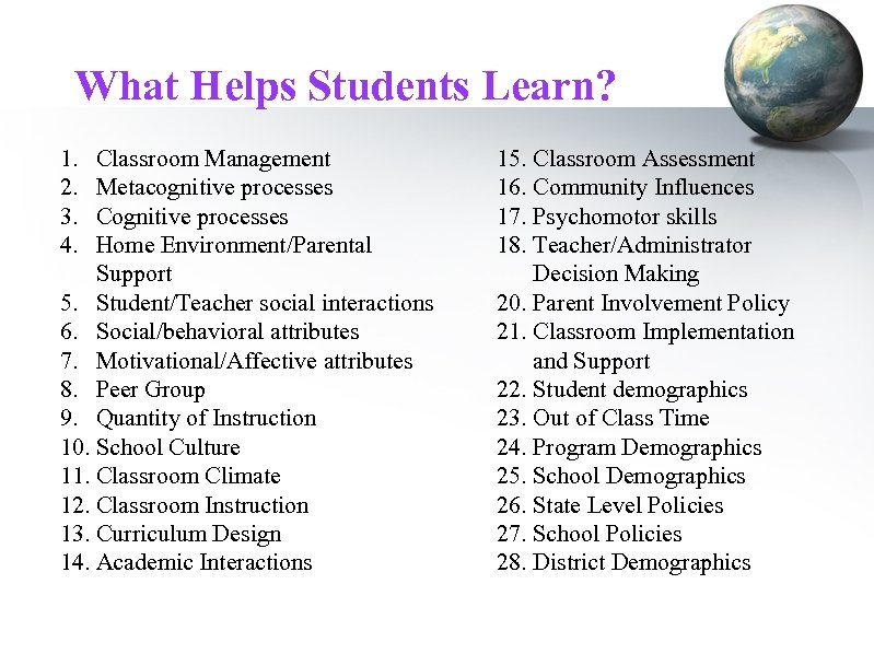 What Helps Students Learn? 1. 2. 3. 4. Classroom Management Metacognitive processes Cognitive processes