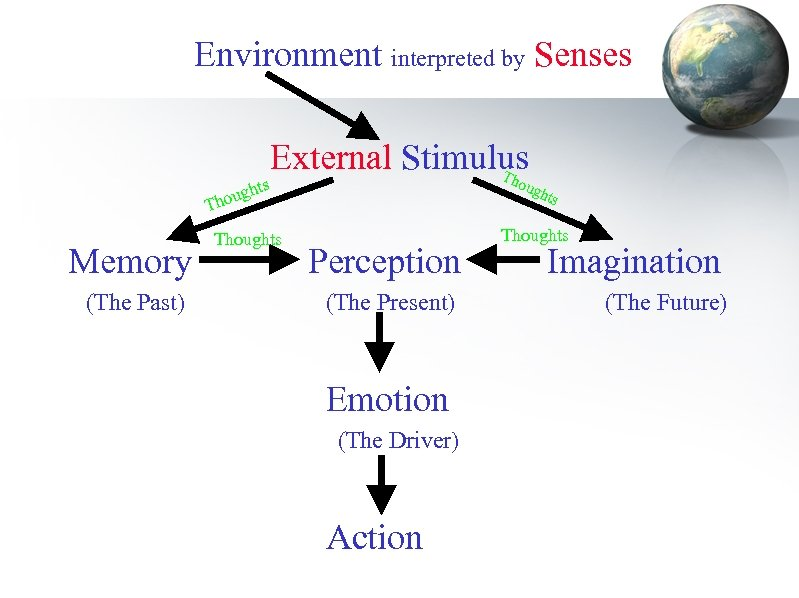 Environment interpreted by Senses External Stimulus Th oug ts ugh o Th Memory (The