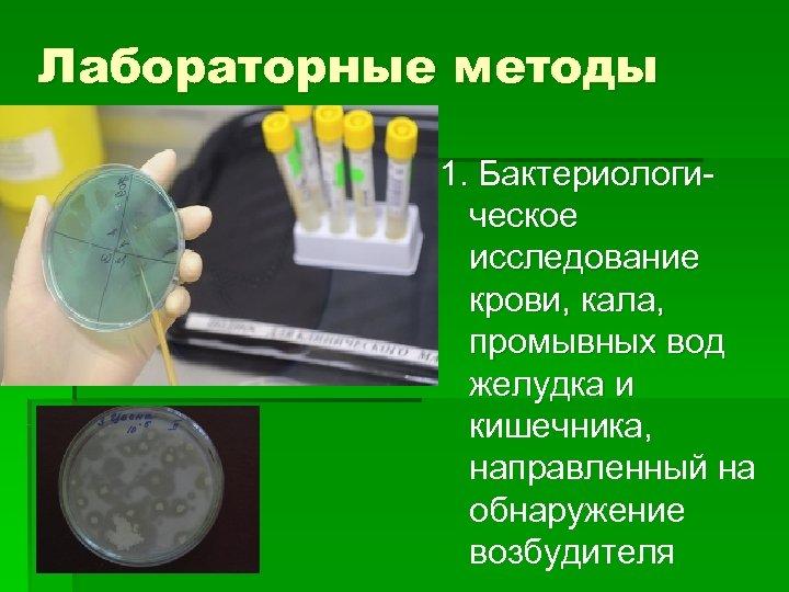 Лабораторные методы 1. Бактериологическое исследование крови, кала, промывных вод желудка и кишечника, направленный на