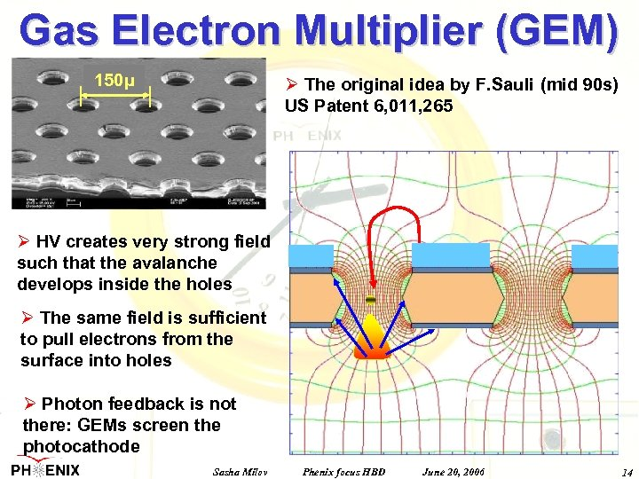 Gas Electron Multiplier (GEM) 150μ Ø The original idea by F. Sauli (mid 90
