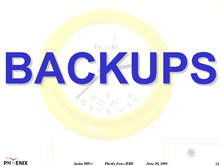 BACKUPS Sasha Milov Phenix focus HBD June 20, 2006 32