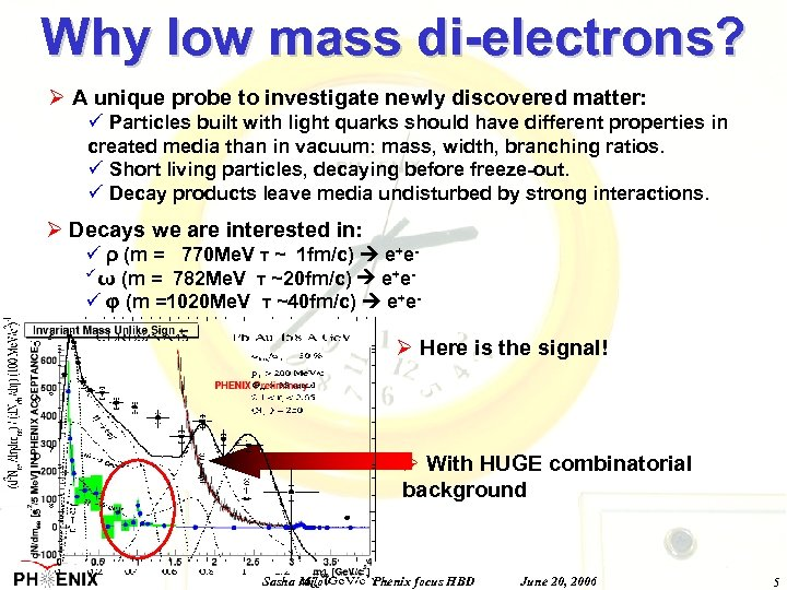 Why low mass di-electrons? Ø A unique probe to investigate newly discovered matter: ü