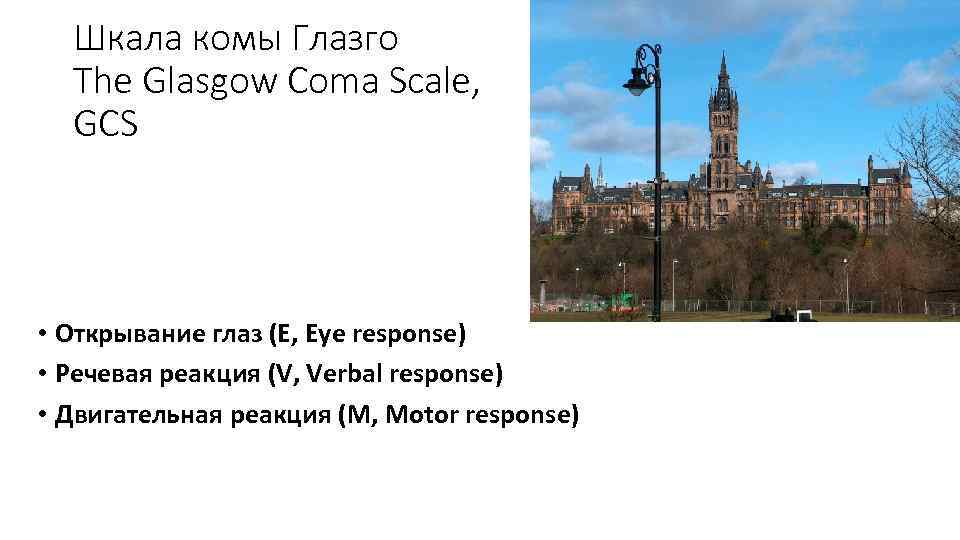 Шкала комы Глазго The Glasgow Coma Scale, GCS • Открывание глаз (E, Eye response)