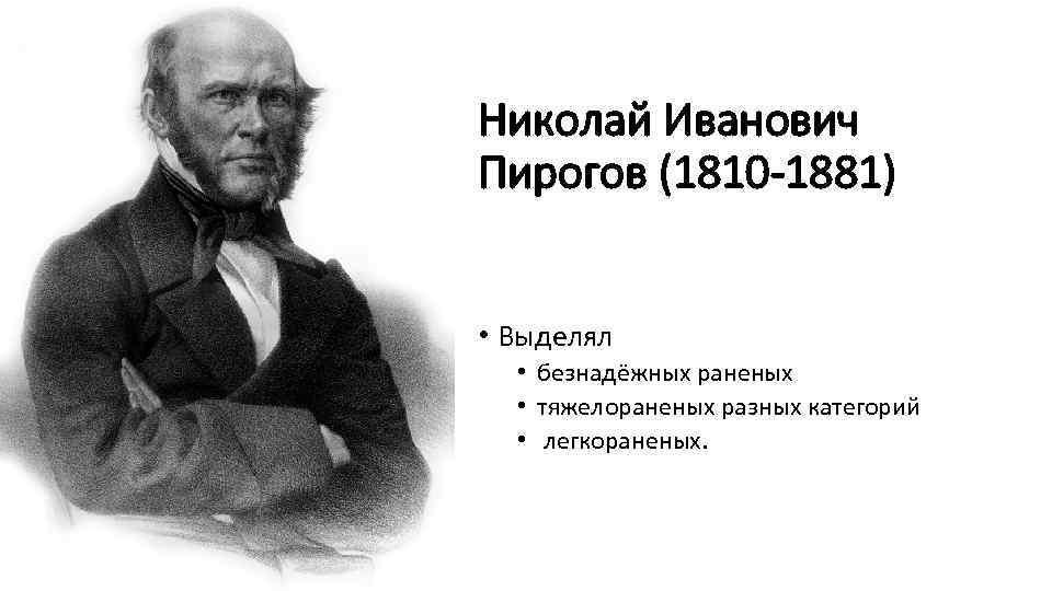 Николай Иванович Пирогов (1810 -1881) • Выделял • безнадёжных раненых • тяжелораненых разных категорий