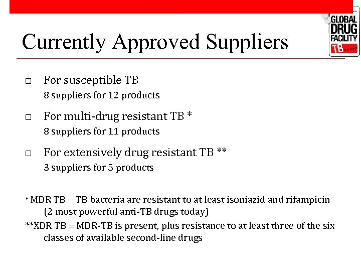 Currently Approved Suppliers o For susceptible TB 8 suppliers for 12 products o For