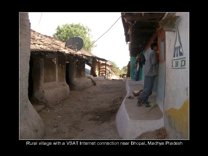 Rural village with a VSAT Internet connection near Bhopal, Madhya Pradesh