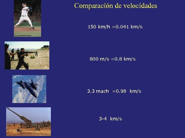 Comparación de velocidades 150 km/h =0. 041 km/s 800 m/s =0. 8 km/s 3.