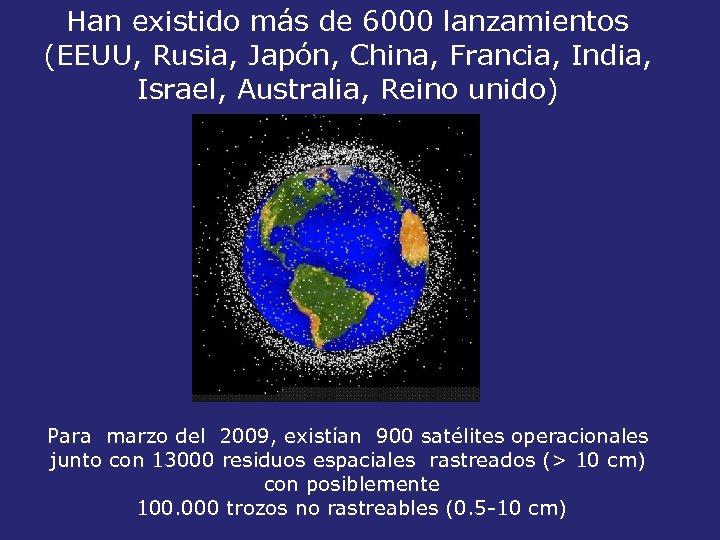 Han existido más de 6000 lanzamientos (EEUU, Rusia, Japón, China, Francia, India, Israel, Australia,