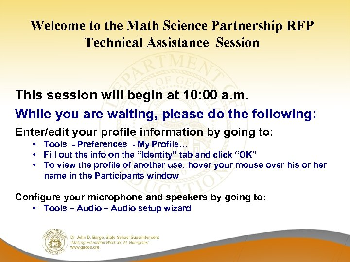 Welcome to the Math Science Partnership RFP Technical Assistance Session This session will begin
