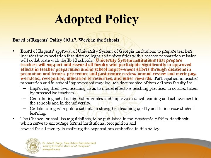 Adopted Policy Board of Regents' Policy 803. 17. Work in the Schools • •
