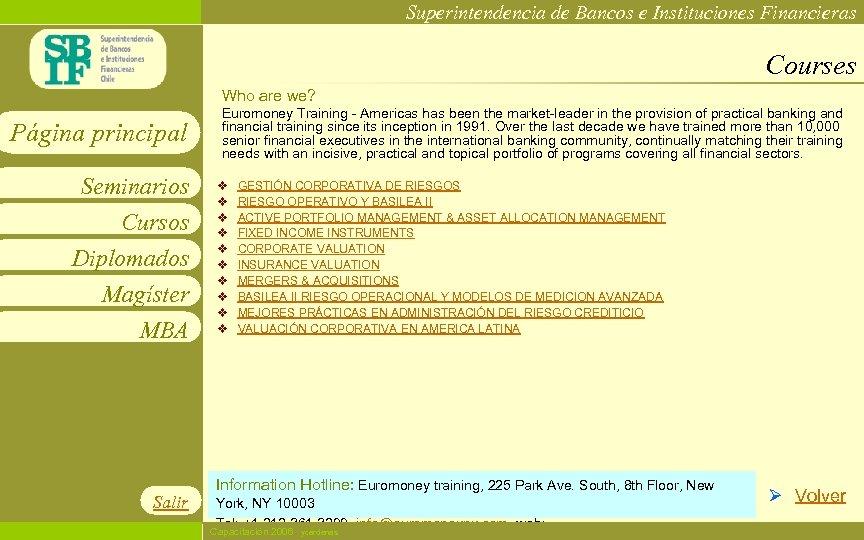 Superintendencia de Bancos e Instituciones Financieras Courses Who are we? Página principal Seminarios Cursos