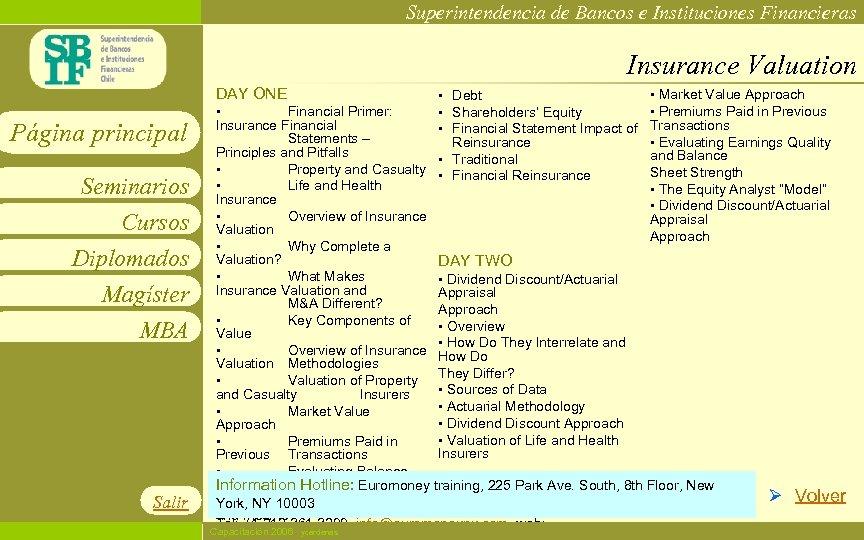 Superintendencia de Bancos e Instituciones Financieras Insurance Valuation DAY ONE Página principal Seminarios Cursos
