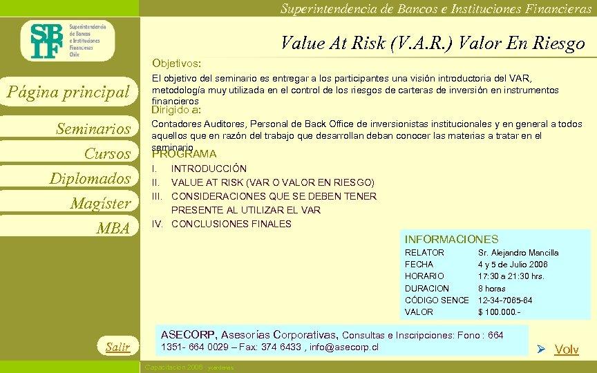 Superintendencia de Bancos e Instituciones Financieras Value At Risk (V. A. R. ) Valor
