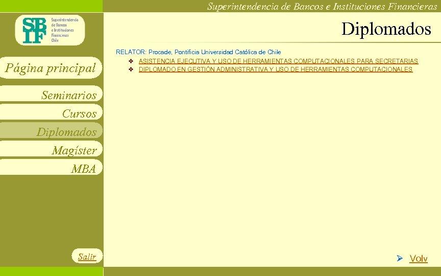 Superintendencia de Bancos e Instituciones Financieras Diplomados Página principal RELATOR: Procade, Pontificia Universidad Católica