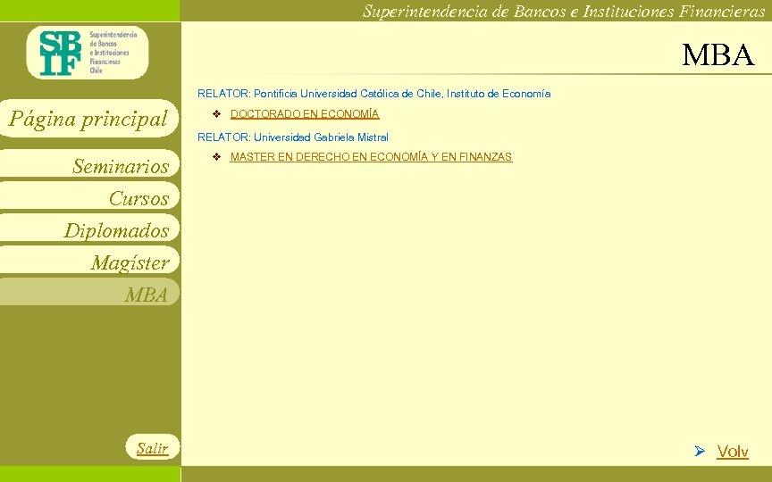 Superintendencia de Bancos e Instituciones Financieras MBA RELATOR: Pontificia Universidad Católica de Chile, Instituto
