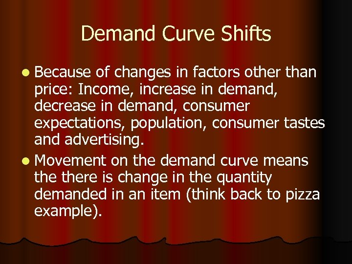 Demand Curve Shifts l Because of changes in factors other than price: Income, increase