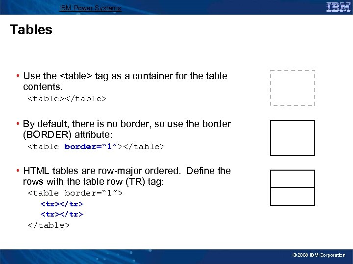 IBM Power Systems Tables • Use the <table> tag as a container for the