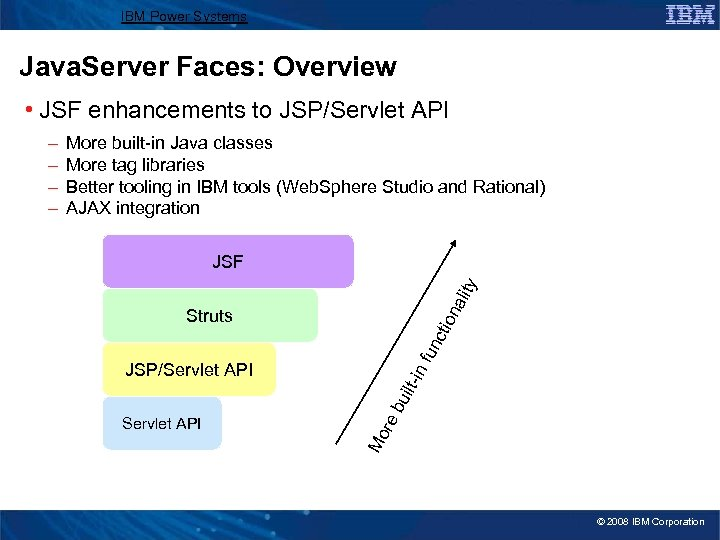 IBM Power Systems Java. Server Faces: Overview • JSF enhancements to JSP/Servlet API More