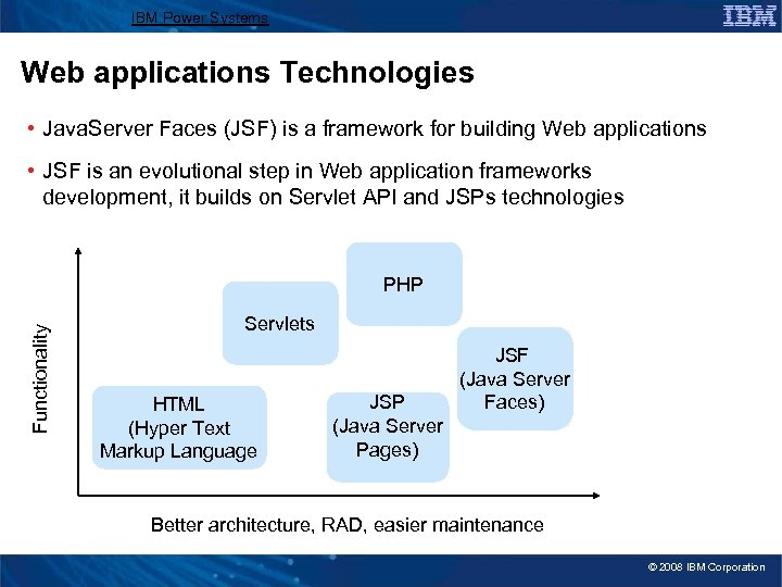 IBM Power Systems Web applications Technologies • Java. Server Faces (JSF) is a framework