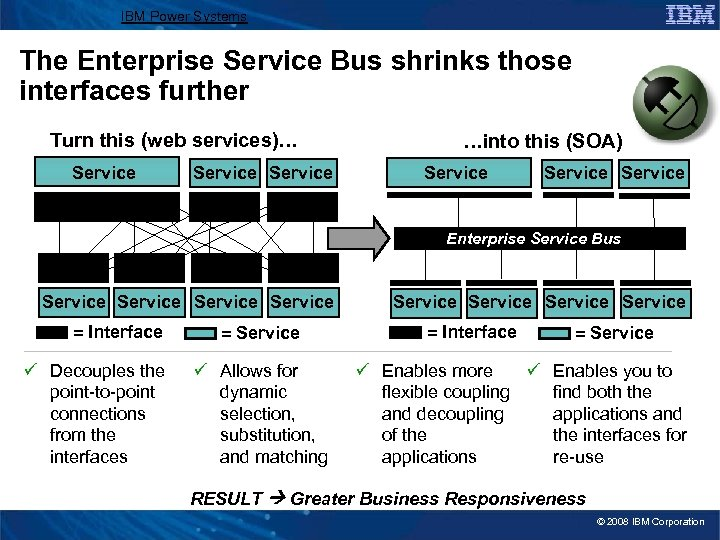 IBM Power Systems The Enterprise Service Bus shrinks those interfaces further Turn this (web