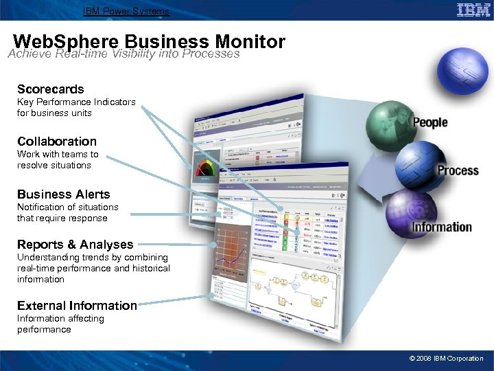 IBM Power Systems Web. Sphere Business Monitor Achieve Real-time Visibility into Processes Scorecards Key