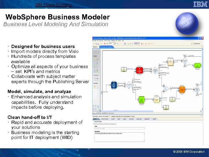 IBM Power Systems Web. Sphere Business Modeler Business Level Modeling And Simulation • Designed