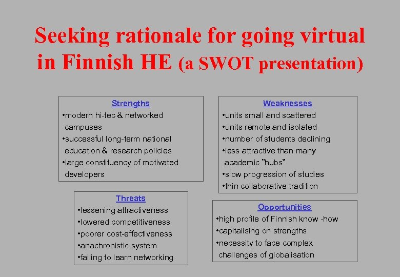Seeking rationale for going virtual in Finnish HE (a SWOT presentation) Strengths • modern