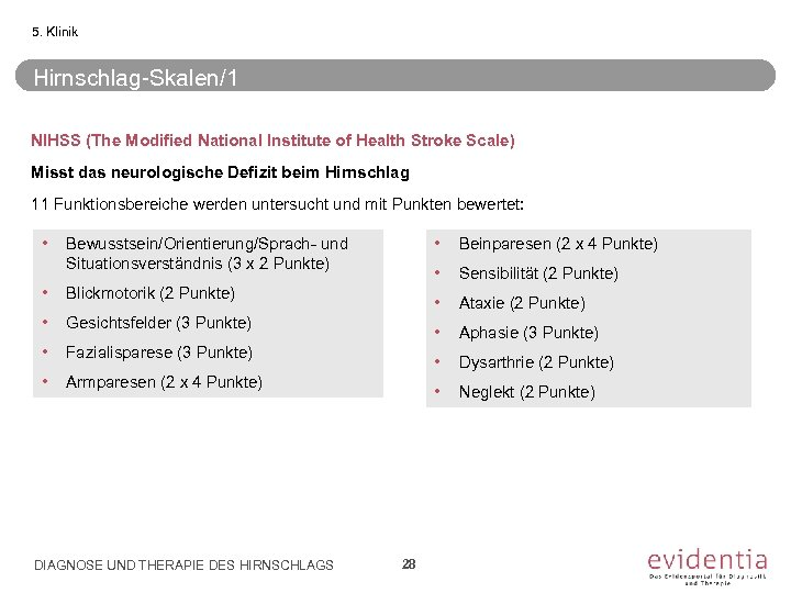 5. Klinik Hirnschlag-Skalen/1 NIHSS (The Modified National Institute of Health Stroke Scale) Misst das