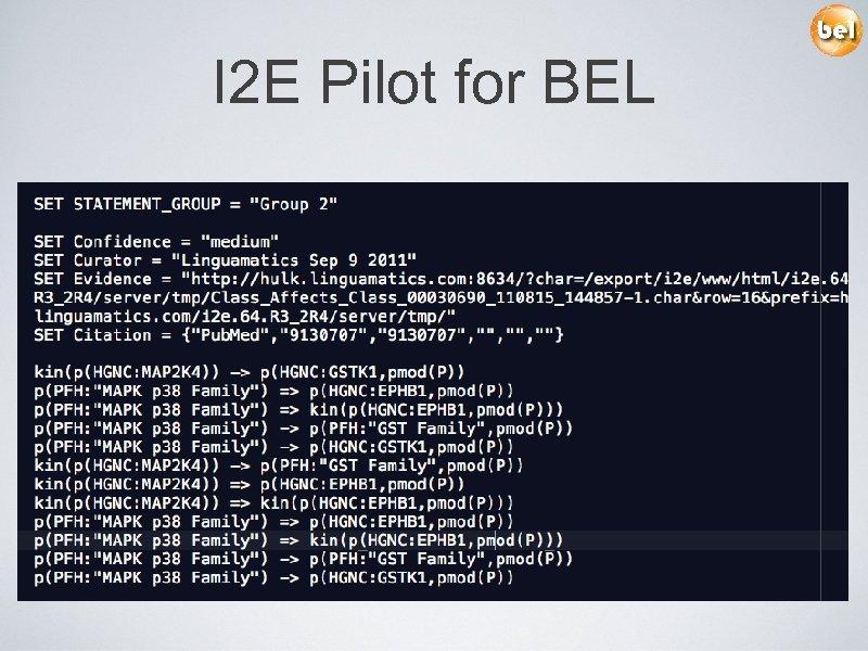 I 2 E Pilot for BEL