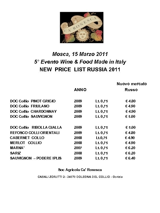 Mosca, 15 Marzo 2011 5° Evento Wine & Food Made in Italy NEW PRICE