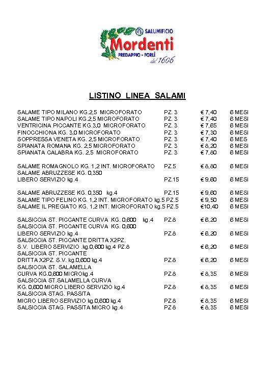 LISTINO LINEA SALAMI SALAME TIPO MILANO KG. 2, 5 MICROFORATO SALAME TIPO NAPOLI KG.