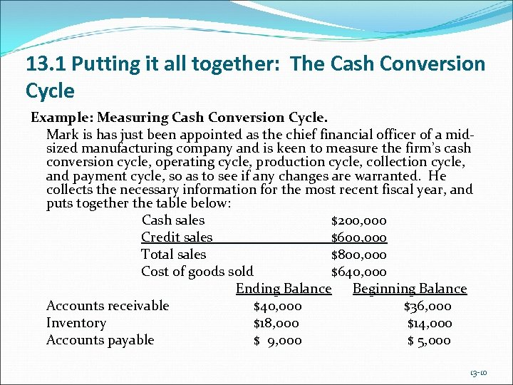 13. 1 Putting it all together: The Cash Conversion Cycle Example: Measuring Cash Conversion