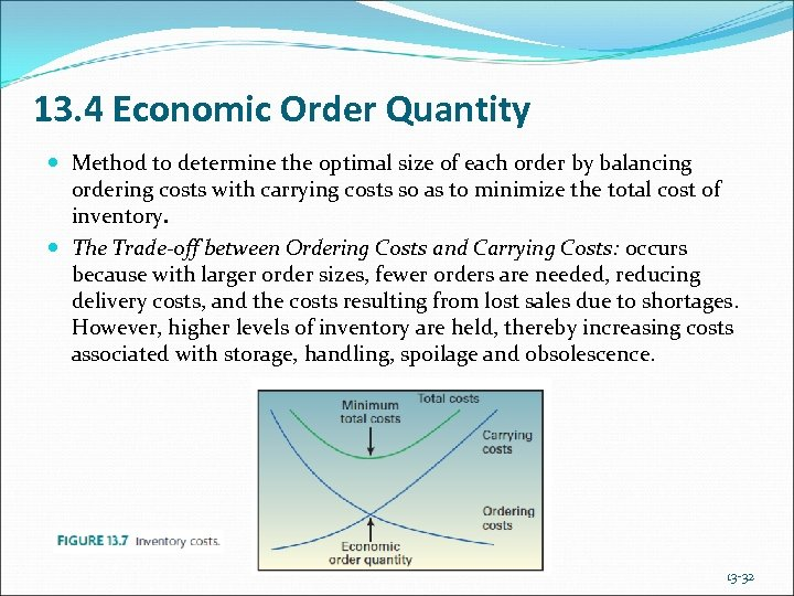 13. 4 Economic Order Quantity Method to determine the optimal size of each order