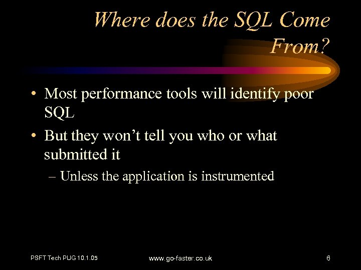 Where does the SQL Come From? • Most performance tools will identify poor SQL