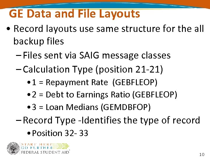 GE Data and File Layouts • Record layouts use same structure for the all
