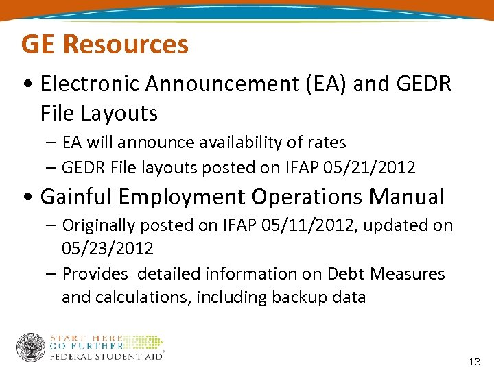 GE Resources • Electronic Announcement (EA) and GEDR File Layouts – EA will announce