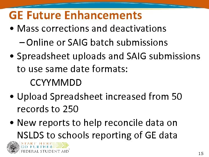 GE Future Enhancements • Mass corrections and deactivations – Online or SAIG batch submissions