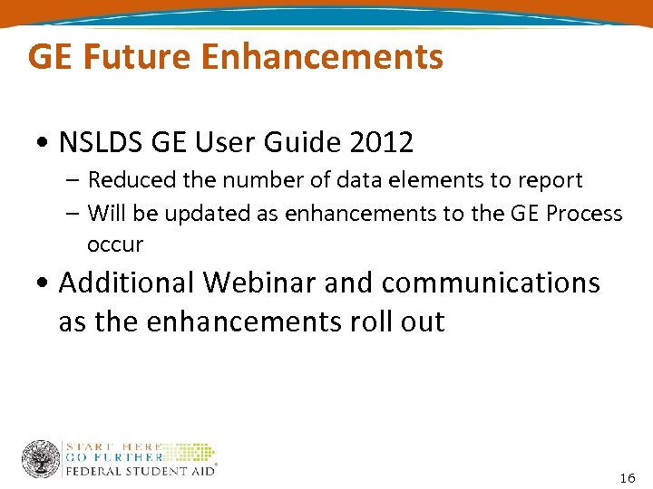 GE Future Enhancements • NSLDS GE User Guide 2012 – Reduced the number of