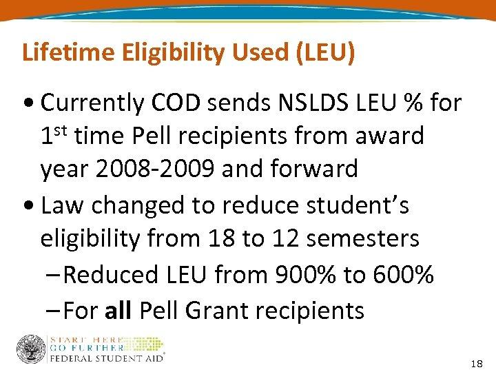 Lifetime Eligibility Used (LEU) • Currently COD sends NSLDS LEU % for 1 st