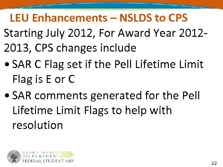 LEU Enhancements – NSLDS to CPS Starting July 2012, For Award Year 20122013, CPS